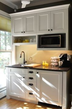 Mustard seed cottage Kitchenette with sink, mini fridge, microwave, and coffee maker. Keep Your Home Small Kitchenette, Basement Kitchenette, Small Basement Kitchen, Kitchenette Ideas, Small Basement Apartments, Studio Kitchenette, Kitchenette Design, Rustic Basement, Basement Bedrooms