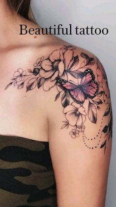 Unique Tattoo Designs, Butterfly Tattoo Designs, Tattoo Designs For Women, Unique Tattoos, Butterfly On Flower Tattoo, Butterfly Tattoos For Women, Butterfly Sleeve Tattoo, Flower Design Tattoos, Flower Tattoo Sleeves