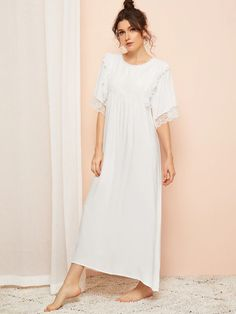 To find out about the Floral Lace Panel Night Dress at SHEIN, part of our latest Nightgowns & Sleepshirts ready to shop online today! Loungewear Outfits, Loungewear Set, Satin Cami Dress, Lace Dress, Fashion Capsule, Fashion Outfits, Casual Skirt Outfits, Lace Insert, Lace Sleeves