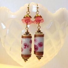 Cherry Blossom earrings  Lampwork Glass earrings  by besboutique, $16.00
