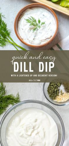 This easy 5-minute Dill Dip is a must at every party! A few simple ingredients are all you need to make a creamy and flavorful 4th of July dip perfect for vegetables and more. With a lightened up and decadent version, this appetizer recipe is perfect for everyone! Cold Dip Recipes, Best Dip Recipes, Easy Appetizer Recipes, Baby Food Recipes, Dinner Recipes, Cooking Recipes, Easy Recipes, Vegan Recipes, Snack Recipes