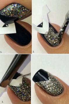 Black and Glitter Nail Art Tutorial #nailart - bellashoot.com & bellashoot iPhone & iPad app