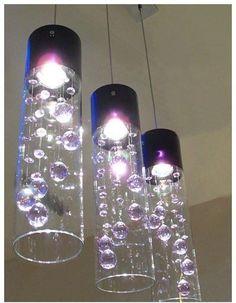 Glass Shade Crystal Ceiling Lighting Pendant Lamp Light x 1 (Purple/Clear)-L26