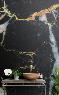 Transform your interior with this subtle, yet sophisticated Black and Gold Dark Marble Effect Wallpaper Mural, a bespoke marble texture design you will love. Bathroom Wallpaper Trends, Moody Wallpaper, Marble Effect Wallpaper, Bathroom Mural, Bathroom Plants, Photo Wallpaper, Bathroom Ideas, Bathroom Trends, Wallpaper Designs