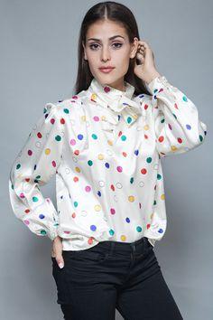 vintage secretary top blouse ascot white satin by shoprabbithole
