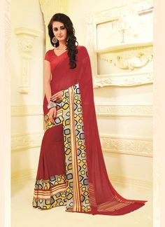 Buy latest sarees collection of designer wedding sarees for womens. Grab this georgette print work red casual saree.