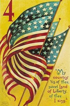 Vintage Public Domain American Flag with yellow background