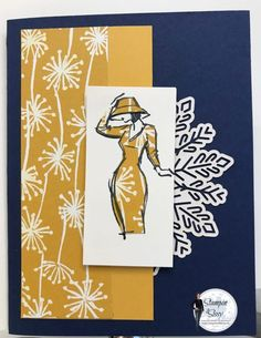 I love this simple elegant card inspired by Lynn Dunn using Beautiful You stamps from Stampin Up. This color combination is one of my favorites! Card Recipe: Paper: Night of Navy, 8 1/2 x 5 1/2 scored at 4 1/4 Crushed Curry 2 1/4 x5 Very Vanilla 3 x