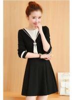 Cheapest Korean Fashion Large Code Female Slim long Mosaic Sleeves Dress Black