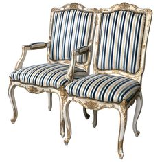 Set of Eight Jansen Style Gilt Gold and Painted Louis XV Dining Chairs | See more antique and modern Dining Room Chairs at http://www.1stdibs.com/furniture/seating/dining-room-chairs