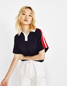 Oversized polo-style T-shirt fashion in 2019 Polo shirt outfit womans polo shirts - Woman Polo Shirts Polo Shirt Outfit Women's, Polo Shirt Girl, Polo Shirt Women, Polo T Shirts, Golf Outfit, Polo Style, Shirt Style, Bershka Outfit, Oversized Polo