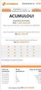 Lotomania 1438 – resultado do sorteio de hoje, 26/03/2014