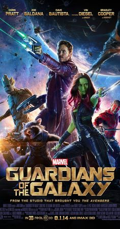 Directed by James Gunn.  With Chris Pratt, Vin Diesel, Bradley Cooper, Zoe Saldana. A group of intergalactic criminals are forced to work together to stop a fanatical warrior from taking control of the universe.