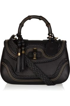 Gucci bamboo stud-embellished leather tote