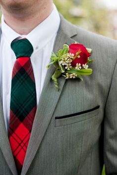 Perfect tie for a Christmas wedding! (How about socks with this print instead?)
