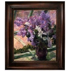 """Alcott Hill 'Lilacs in a Window 1880' by Mary Cassatt Framed Oil Painting Print on Canvas Size: 31"""" H x 27"""" W, Format: Dark Gold Frame"""
