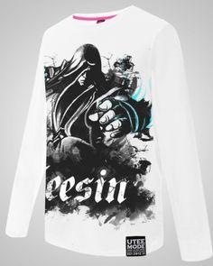 League of Legends shirt do pecado lee para homens lol herói camiseta de manga longa branca-