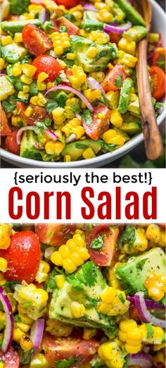 Corn Salad Recipe with Avocado Fresh Corn Salad loaded with avocado, tomatoes, red onion and the best lime cilantro dressing. This avocado corn salad recipe is so satisfying and always disappears fast – a winning side dish for any occasion. Corn Salad Recipes, Fresh Salad Recipes, Corn Salads, Healthy Salad Recipes, Veggie Recipes, Vegetarian Recipes, Bbq Salads, Noodle Recipes, Tomato Salad Recipe
