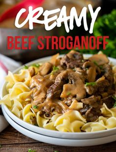 This Creamy Beef Stroganoff Recipe is filled with tender strips of steak in a creamy and savory mushroom gravy sauce. Sirloin Steak Recipes, Beef Tenderloin Recipes, Salisbury Steak Recipes, Tenderloin Steak, Beef Sirloin, Roast Brisket, Roast Recipes, Pork Roast, Ground Beef Stroganoff