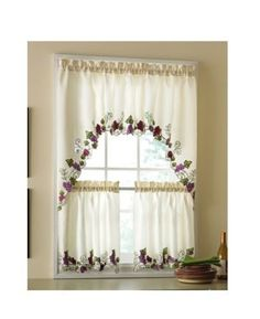 3-Pc-Vineyard-Grapes-Fruit-Wine-Kitchen-Window-Curtains-Valance-Swag-Panel-Tiers