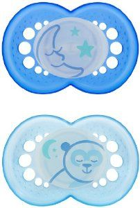 Amazon.com: MAM NIGHT BPA Free Silicone Pacifier, 6 Months, 2 Pack - Boys Colors: Baby