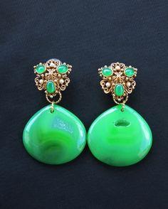 Green Drusy Agate Earrings