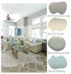 Dorian Gray Family Room Reveal with Gallery Wall. Dorian Gray Family Room Reveal with Gallery Wall. Grey Family Rooms, Family Room Design, Family Room Colors, Bedroom Colors, Style At Home, Paint Color Palettes, Coastal Color Palettes, Ideas Hogar, Paint Colors For Home
