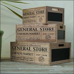 Rustic Wooden Chalkboard Crates With Handles - Vintage Style Blackboard Storage Boxes