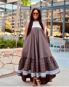 The best thing about Africa styles is that they are available for ladies of all ages. LATEST SESHOESHOE DRESSES to make you look elegant. Seshoeshoe Dresses, African Wear Dresses, Latest African Fashion Dresses, African Inspired Fashion, African Print Fashion, African Attire, Dress Fashion, Fashion Outfits, Wedding Dresses