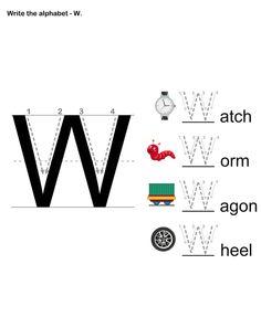 Letter Writing W - esl-efl Worksheets - preschool Worksheets Alphabet Writing Worksheets, Preschool Writing, Alphabet Worksheets, Preschool Worksheets, Preschool Learning, Letter Writing, Handwriting Worksheets, Alphabet Letters, Printable Worksheets