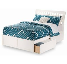 Atlantic Furniture Orleans White Full Flat Panel Foot Board Bed with Urban Trundle (Size & Color) Bedroom Furniture, Furniture Design, Under Bed Drawers, Atlantic Furniture, Queen Platform Bed, Bed Reviews, Wood Beds, Bed Storage, Headboards