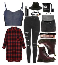 """""""Black Jeans"""" by dreaming-wonderland ❤ liked on Polyvore featuring Oxford Ivy, Topshop, Rebecca Minkoff, Forever 21, Dr. Martens, Bobbi Brown Cosmetics, MAC Cosmetics, Smashbox and blackdenim"""