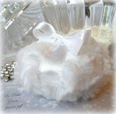 La Petite SNOW Powder Puff  soft white miniature plush bath pouf by BonnyBubbles, $12.50