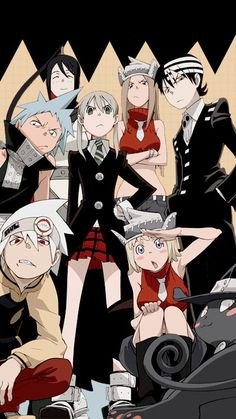 Soul Eater: Black Star, Tsubaki, Soul, Maka, Patty Death the Kid and Liz Anime Soul, Anime Ai, Anime Manga, Soul Eater Manga, Dark Fantasy, Soul Eater Death, Soul Eater Cast, Soul From Soul Eater, Soul Eater Stein