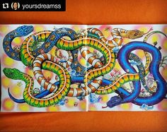 Snakes... no ladders...just doodles  Cool colours @yoursdreamss #animorphia #kerbyrosanes #animorphiacolouringbook  #colorful #coloringbookforadults  #coloringbook #coloring  #colouringtherapy #adultcoloringbook #relax #arttherapymania  #coloringmasterpiece #AdultColoring #rainbowdoodlers #snakes - more @ RainbowDoodlers.com