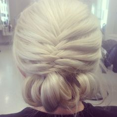 #updo #frenchfishtailbraid #blonde