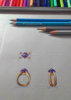 Sketches. Watercolor rendering of classical jewels. Hand made.