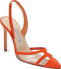 Manolo Blahnik Ianc Cutout Slingback Pumps in Orange High Heel Boots, Shoe Boots, High Heels, Boogie Shoes, Hipster Shoes, Orange Shoes, Orange Pumps, Purple Shoes, Manolo Blahnik Heels