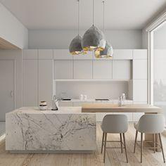 Kitchen Room Design, Modern Kitchen Design, Home Decor Kitchen, Interior Design Kitchen, New Kitchen, Home Kitchens, Kitchen Grey, Kitchen Wood, Kitchen Ideas