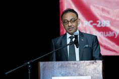 Senator the Honourable Vasant Bharath - Minister for Trade, Industry, Investment and Communication in Trinidad - addresses delegates at the gala dinner. He was special guest at the event.