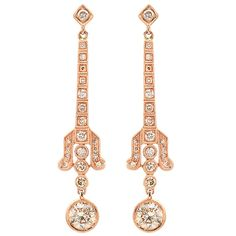 Beverley K cognac #diamond stiletto drop #earrings