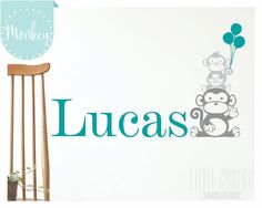 Monkey Stack Name w/ Balloons Wall Decal by LittleCooperLane