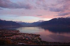 Fall pink sky and lake Geneva Switzerland, Lake Geneva, Above The Clouds, Pink Sky, Wedding Locations, Resort Spa, Perfect Wedding, Marie, Journey