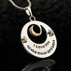 """I LOVE YOU TO THE MOON AND BACK"" Alloy Necklace Pendant Long Chain Silver Gift #Unbranded #Pendant"