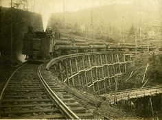 Washington State Historical Society - Mountain Timber Co. logging train, pulled by a Shay locomotive, approaching on a railroad trestle in the Kalama, Cowlitz County, WA area, 1911.