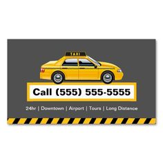licensed taxi driver chauffeur yellow cap business card - Taxi Business Cards