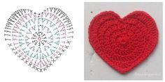 Con San Valentino che incombe  vi segnalo uno schema per cuore a uncinetto.   Si può usare per fare una ghirlanda per decorare la casa nel giorno dedicato all'amore, se ne possono realizzare per spar