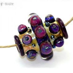 Glass lampwork bead Golden Plum Palace Barrel handmade for jewelry