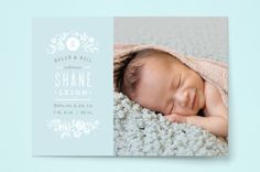 Sun Print Florals Birth Announcements by Jennifer Wick at minted.com