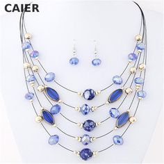 CAIER Fashion Bohemia Style Statement Necklace African Beads Jewelry Set Earrings For Women Wedding chain Beads For Jewelry